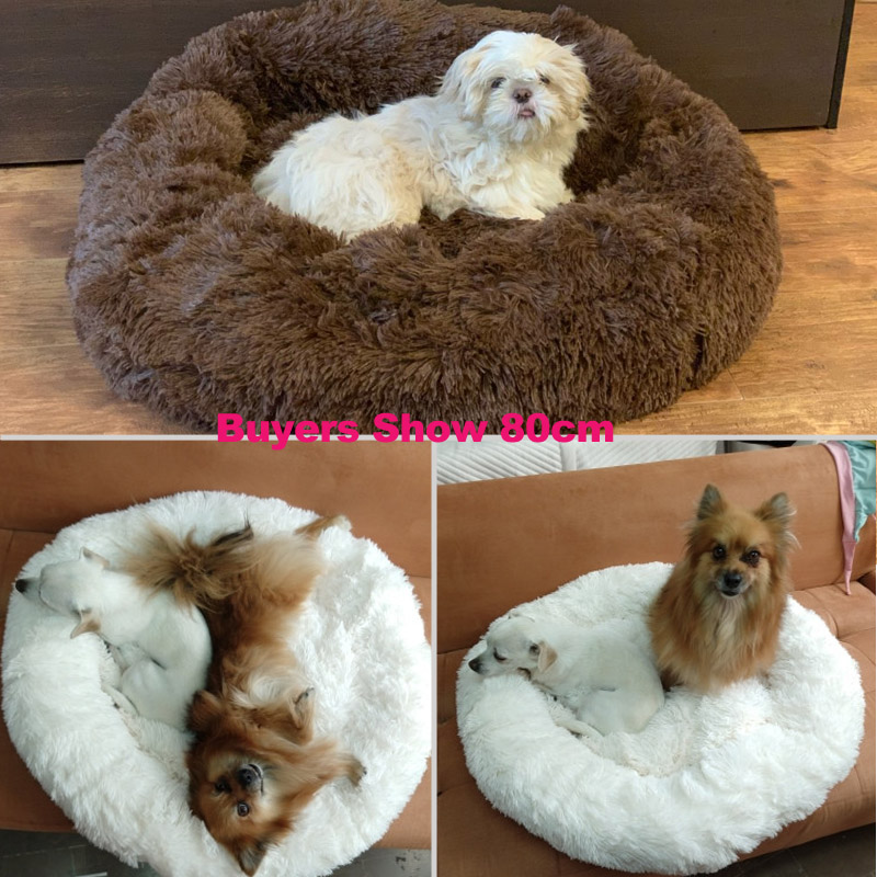 Super Soft Dog Bed Round Washable Long Plush Dog Kennel Cat House Velvet Mats Chihuahua Dog Basket Pet Bed 9