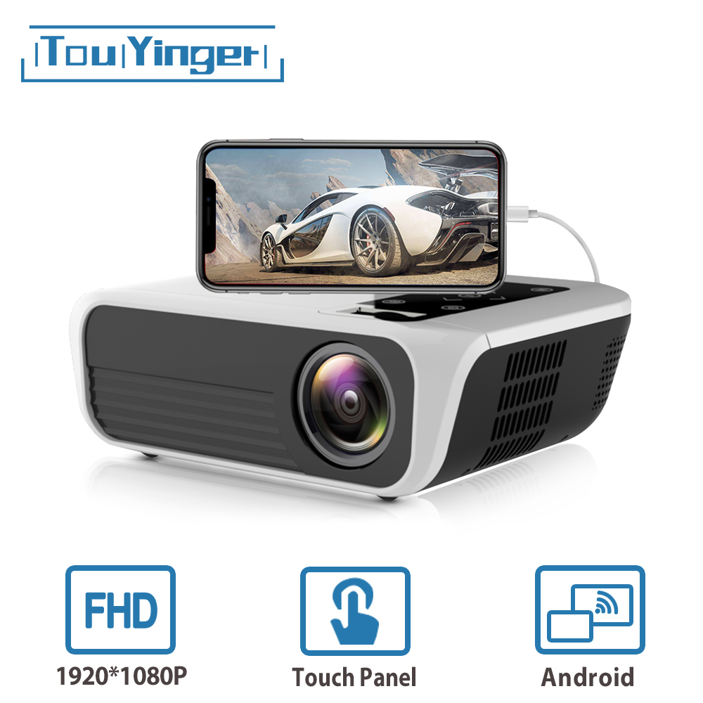 Touyinger l7 led nativo 1080 p projetor completo hd mini marcas usb beamer 4500 lumens android 7.1 wifi bluetooth cinema em casa hdmi