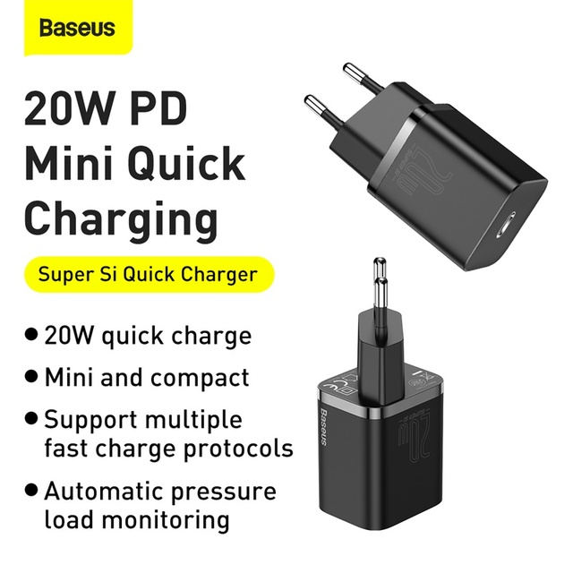 Baseus PD 20W Quick Charge QC3.0 QC USB Type C Fast Charging Charger For iPhone 12 Pro Samsung Xiaomi Wall Mobile Phone Charger 2