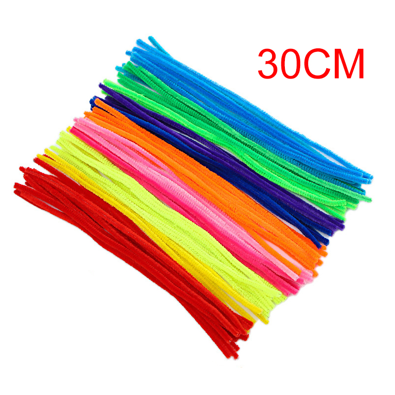 100pcs 10 Colors Chenille Stems Craft Pipe Cleaners + Fluffy Pompoms + Toy Eyes Colorful DIY Plush Chenille Sticks