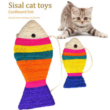 Cats Toy Fish shape Pet Sisal Cat Scratch Pad Catnip Board Toys Funny  Supplies Pets D40