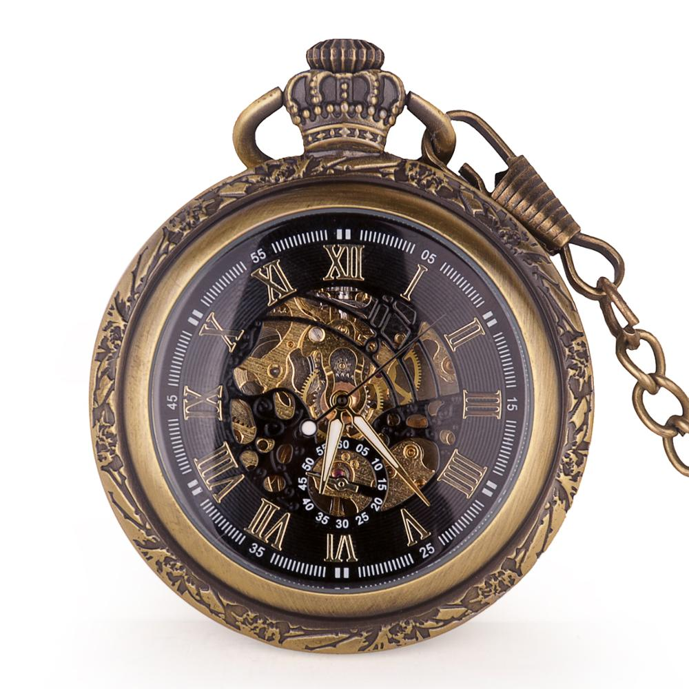 Antique Automatic Mechanical Pocket Watch Skeleton Retro Roman Dial Bronze Hand-winding Watch With FOB Chain Clock Unisex Gifts
