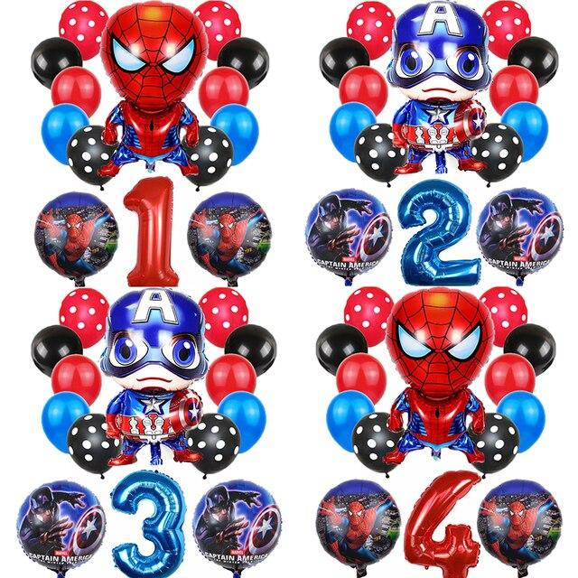 14 pièces Spider man fête ballon décorations bébé douche 32 pouces numéro ballon joyeux anniversaire fête décor enfants jouet Latex balle