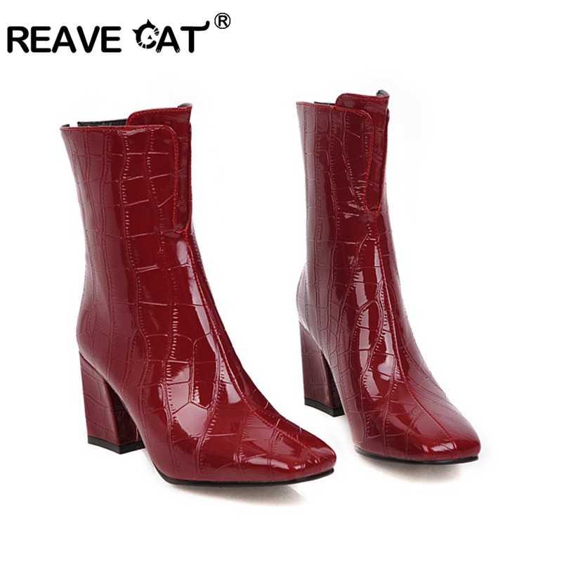 Женские лакированные ботильоны REAVE CAT из лакированной кожи на квадратном каблуке
