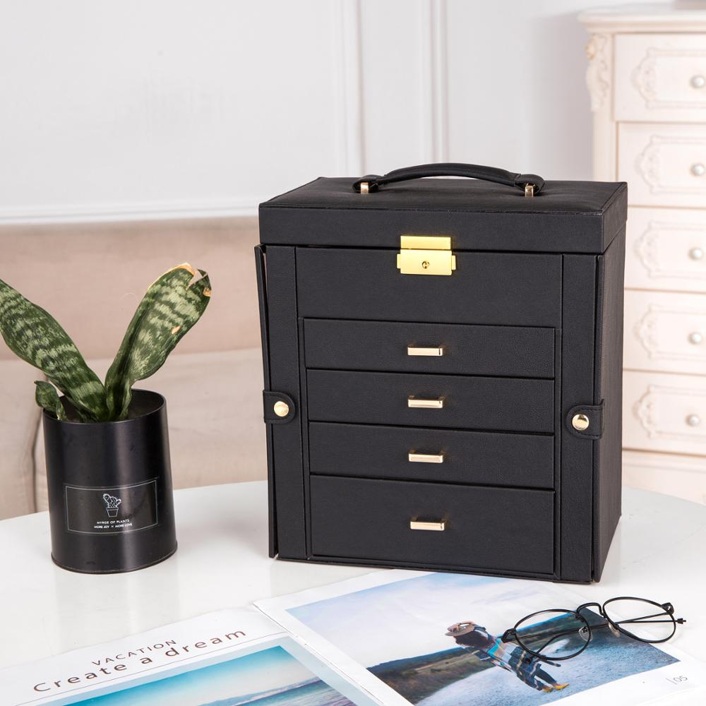 Synthetic Leather Huge Jewelry Box Mirrored Watch Organizer Necklace Ring Earring Storage Lockable Gift Case Black