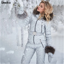 Umeko Winter Hooded Jumpsuits Parka Elegant Cotton Padded Warm Sashes Ski Suit S