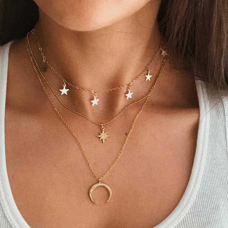 Collana multistrato bohémien per donna collana con ciondolo a forma di stella con stella a forma di stella con ritratto Vintage Collier geometrico Collares