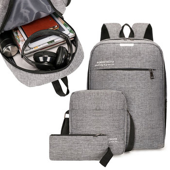 цена 3pcs Laptop USB Backpack Men's Male Bag Anti Theft Men Backpack Travel Business Male Leisure Backpack Women Shoulder Bag онлайн в 2017 году