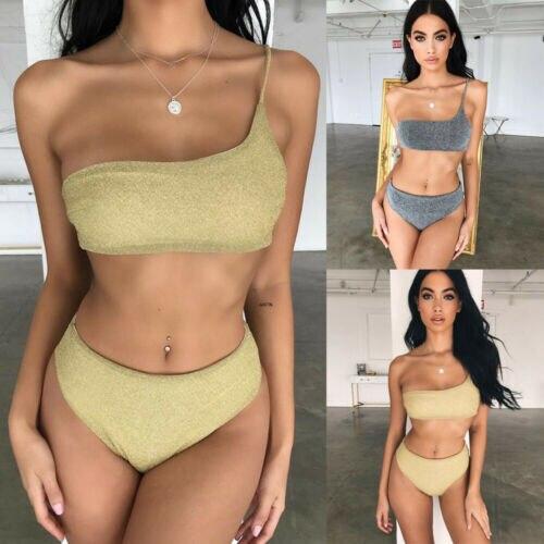 New Thong Bikini Set 2019 New Women Swimwear Pure Color Push Up Padded Swimsuit Biquini Women Bathing Suit Summer Beachwear
