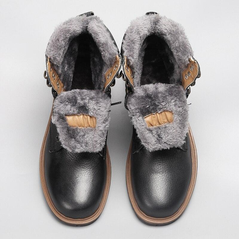 Top Quality Boots Men Winter 2019 Genuine Leather Handmade Brand Warmest Winter Men Shoes #BG1568