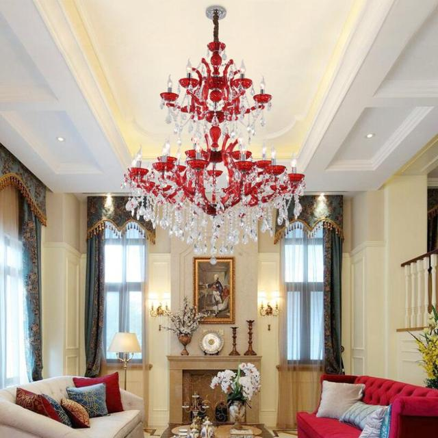 Фото красная светодиодная люстра освещение роскошный европейский цена