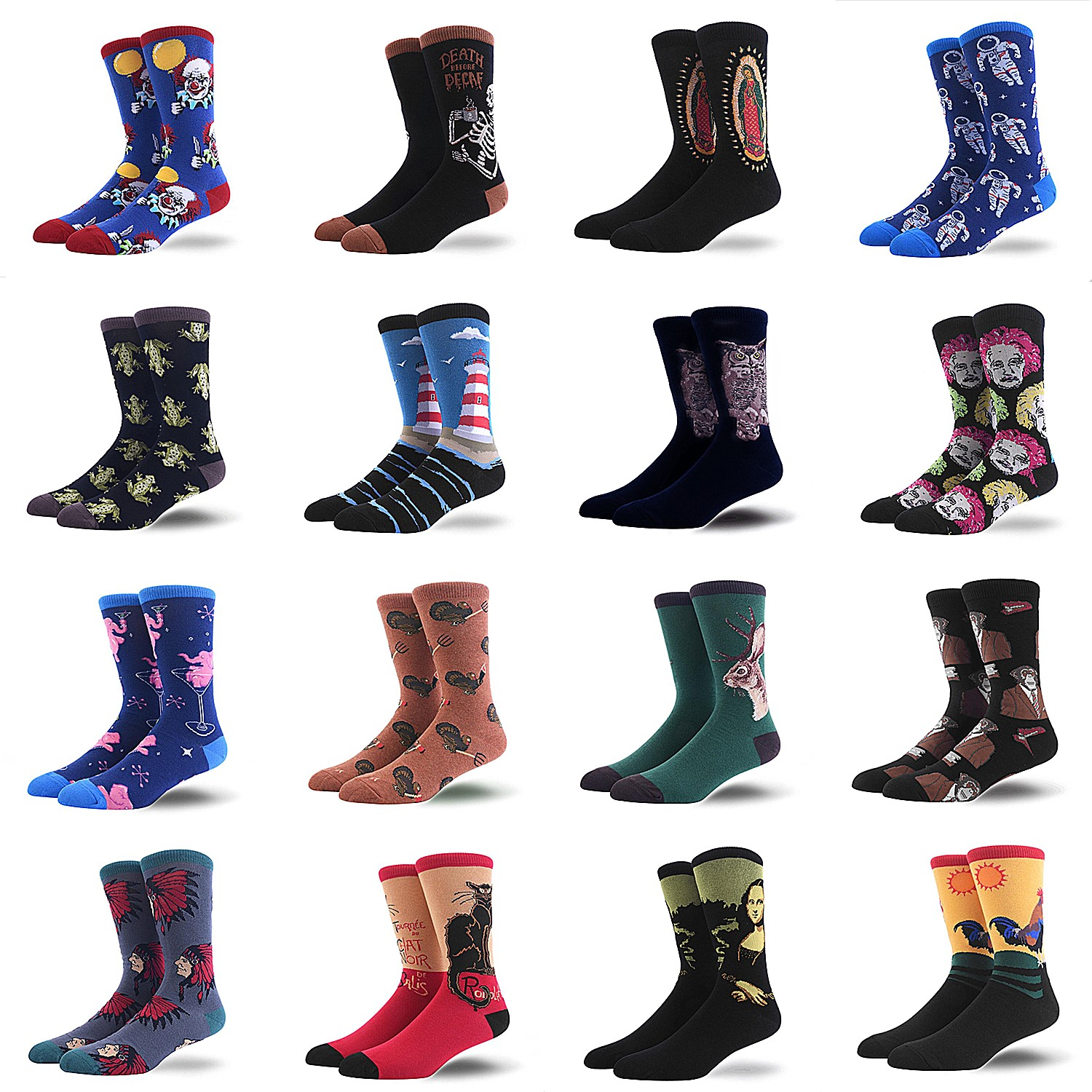 High Quality Happy Men Socks Shark Clown Beer Planet Astronaut Lighthouse Owl Male Combed Cotton Socks Crew Casual Crazy Socks