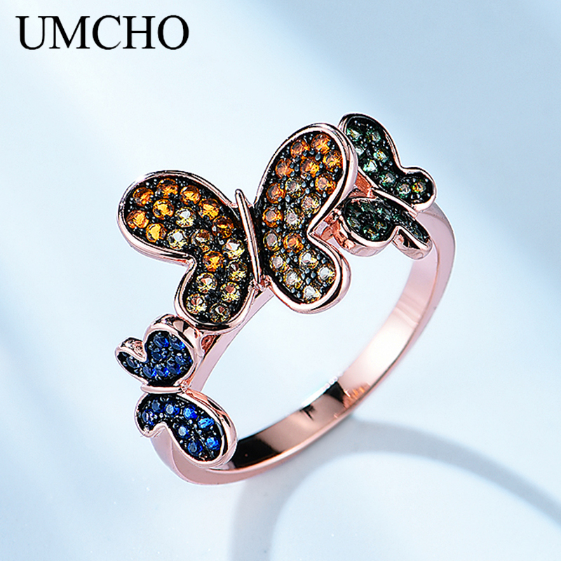 UMCHO Genuine 925 Sterling Silver Rings Natural Butterfly Pattern Rings Party Hyperbole Gifts For Women Fine Jewelry(China)