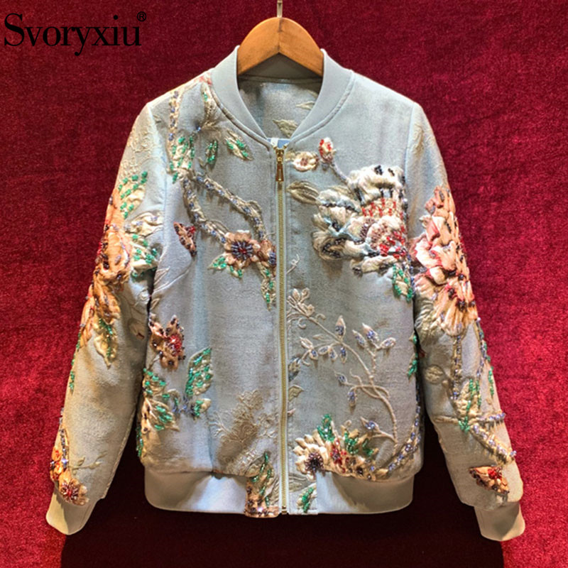 Svoryxiu Designer High End Autumn Winter Jacquard Jackets Coat Women's Long Sleeve Crystal Beading Vintage Jacquard Outwear