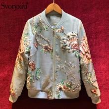 Svoryxiu designer High End Autumn Winter Jacquard Jackets Coat Womens Long Sleeve Crystal Beading Vintage Outwear