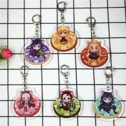 Japanese Anime Kimetsu No Yaiba Keychain Kamado Nezuko Agatsuma Zenitsu Tomioka Giyuu Kochou Shinobu Cartoon Acrylic Key Chain