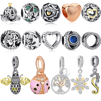 Authentic 925 Sterling Silver Ladybug Bee Crown Gold Love Heart Beads Fit Original Pandora Charms Bracelet DIY Jewelry Making choruslove jack o lantern charms authentic 925 sterling silver pumpkin coach carriage beads fit pandora halloween diy bracelet
