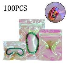 100 шт reclosable голографическая розовая упаковочная сумка