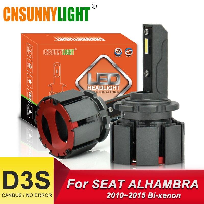 CNSUNNYLIGHT Canbus D3S ampoule LED phares de voiture 10000Lm/paire lumières automobiles pour SEAT ALHAMBRA 2010-2015 bi-faisceau lampe 6000K