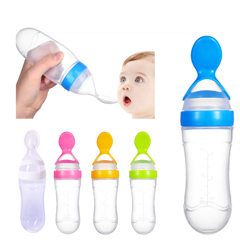 Baby Squeezing Feeding Bottle BPA Free Silicone Training Rice Baby Spoon Cereal Food Supplement Feeder Safe Tableware Tools