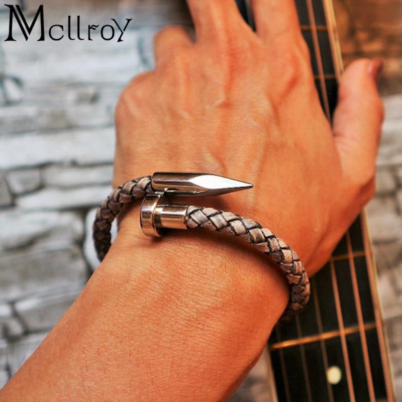 Mcllroy Bracelet hommes Vintage en cuir véritable acier inoxydable fermoir magnétique bracelets pour femme hommes bijoux 2018 erkek bileklik 1