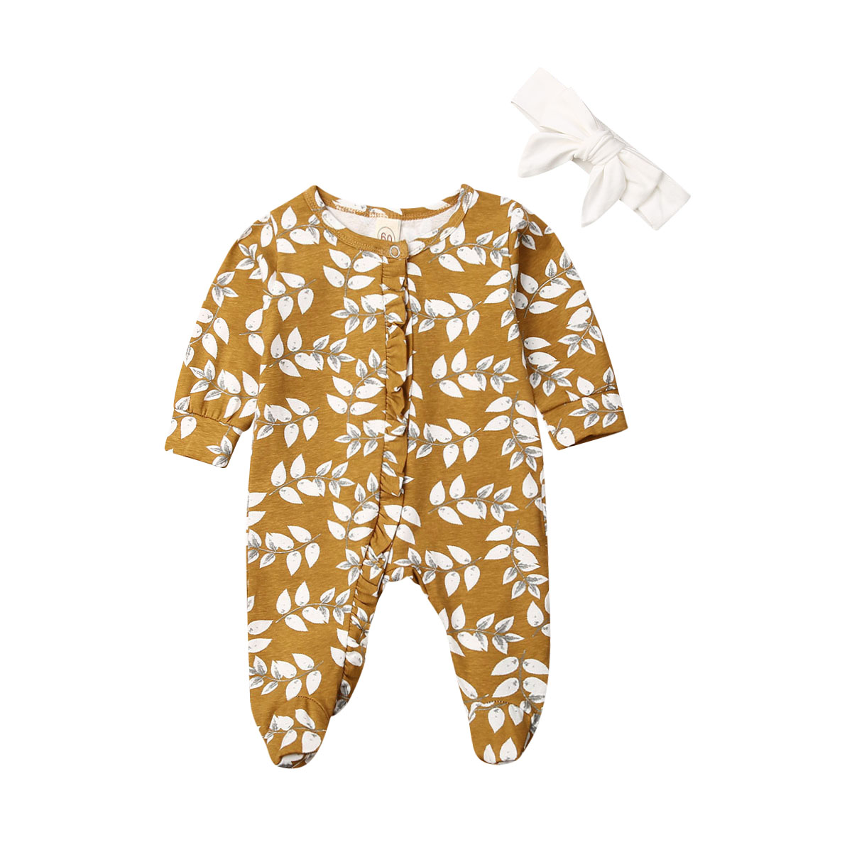 Newborn Clothes  Kid Baby Girl Long Sleeve Flower Footies Floral Jumper Casual One-pieces Jumpsuit Outfit 0-6M