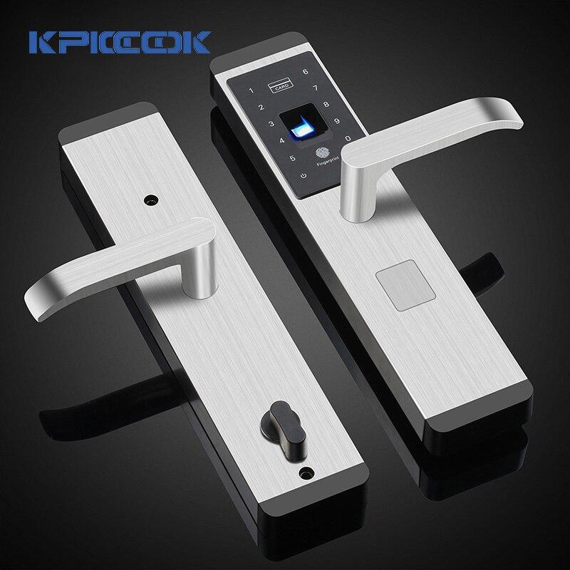 KPIOCCOK serrure de porte intelligente en acier inoxydable empreinte digitale mot de passe serrure IC carte clé Wechat mécanique biométrique serrure d'empreintes digitales X1