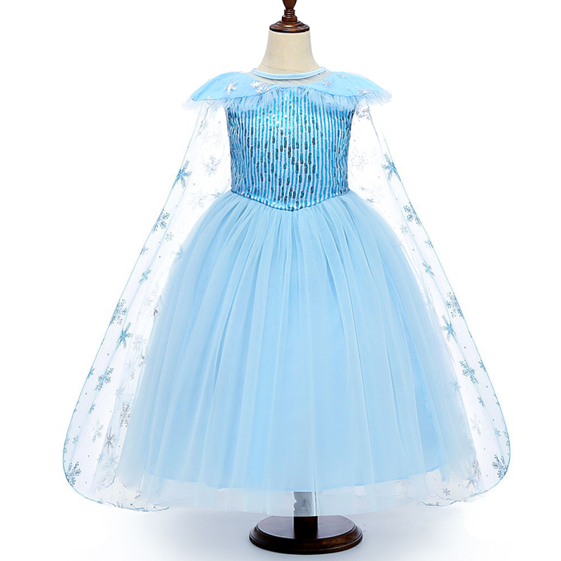 Hcd79ccf0968d4967bfe02f98975604f4U 4-10T Fancy Princess Dress Baby Girl Clothes Kids Halloween Party Cosplay Costume Children Elsa Anna Dress vestidos infantil
