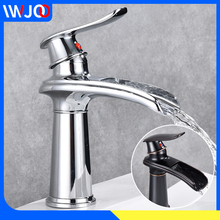 Basin Faucet Waterfall Brass Bathroom Faucets Black Bathroom Sink Faucet Toilet Single Hole Cold and Hot Water Basin Mixer Taps black basin faucets modern style bathroom faucet deck mounted waterfall single hole mixer taps both cold and hot water crane9273