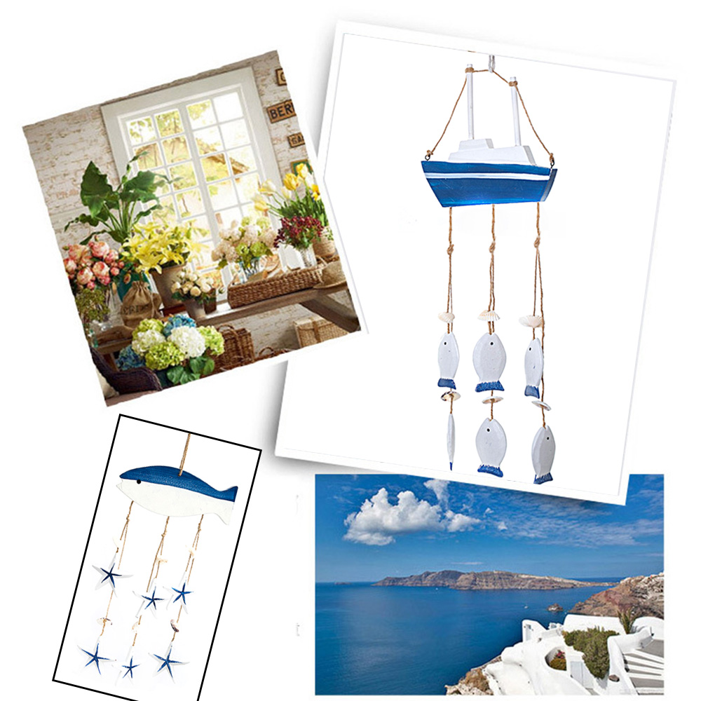 Buy Mediterranean Ocean Wind Chime Pendant Home Ornaments Gifts Wooden Crafts Shells Conch Curtain Fish Boat Shape Decor for Room for only 13.65 USD