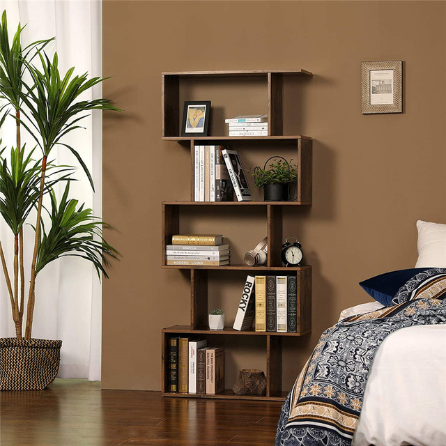 Staggered Bookcase Wooden Industrial Style 5-Tier Display Rack Room Divider Freestanding Storage Shelf Bookshelf Vintage Color 3