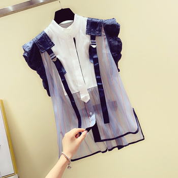 Flounced Sleeveless Stripes Blouse for Women Lace-up Chiffon Shirt Women's 2020 Summer New Korean-style Stand Collar Shirts Tops фото