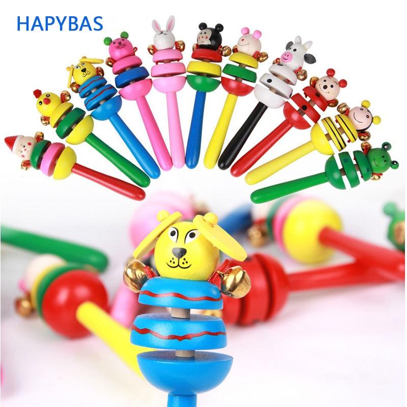 Wooden Stick Jingle Bells Rainbow Hand Shake Cut Cartoon Animal Bell Rattles Baby Kids Children Educational Toy