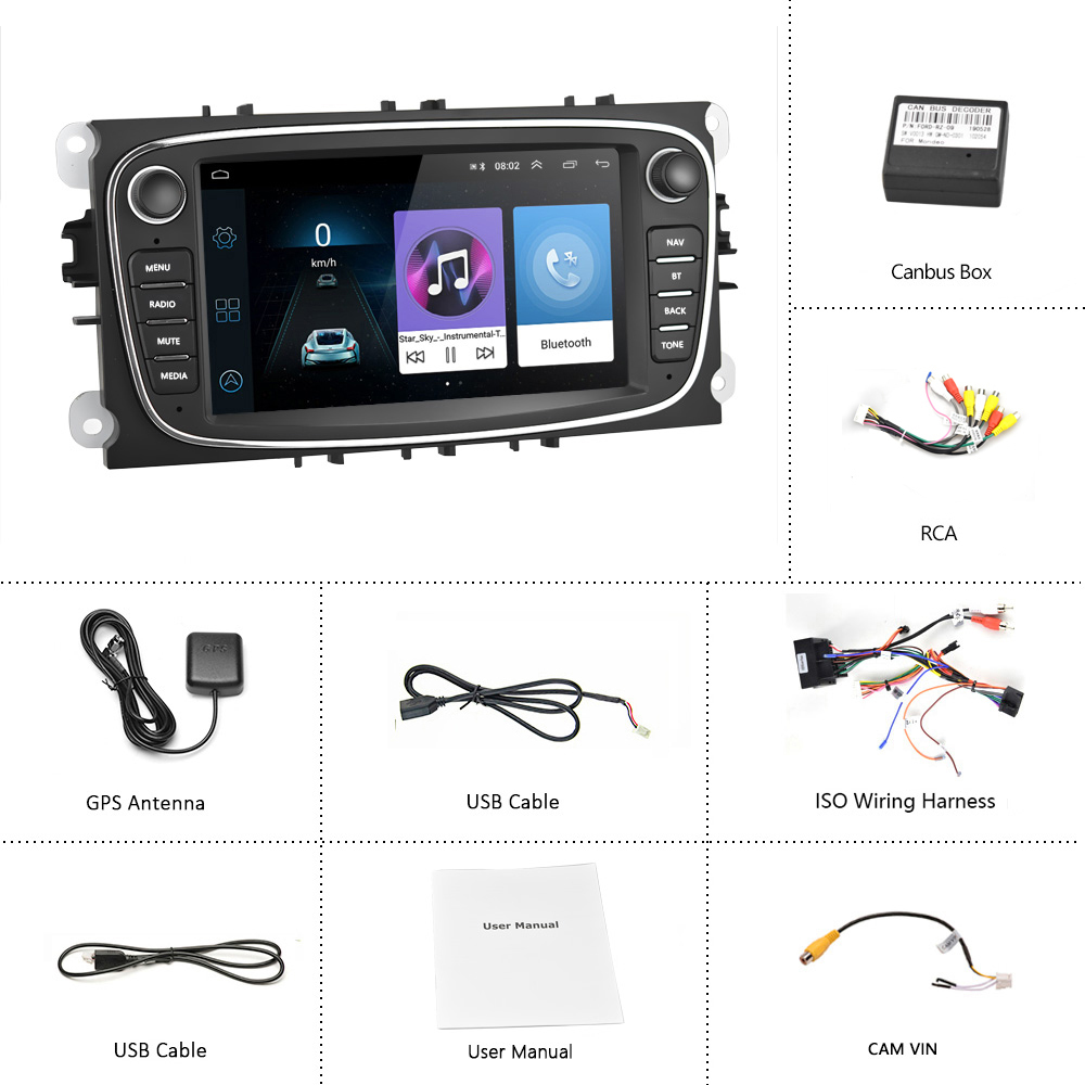 Podofo Android 8.1 GPS Car Radios 2 Din Car Multimedia player 7'' Audio DVD Player For FordFocusS-MaxMondeo 9GalaxyC-Max (2)