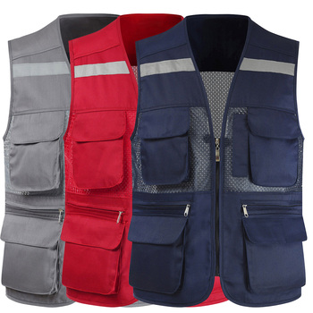 Men's Summer Mesh Fishing Vest Photography Work Multi-Pockets Outdoors Journalist's Sleeveless Jackets - discount item  51% OFF Workplace Safety Supplies