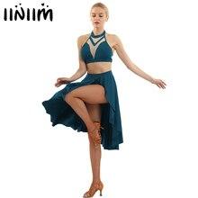 Iiniim vêtements asymétriques pour femmes, robe de patinage, dos nu, haut court avec jupe, pour danse latine, pour salle de bal, pour femmes