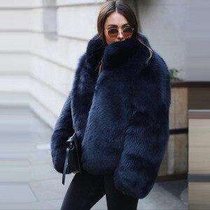 Image 3 - Fashion Stand Collar Women Genuine Fox Fur Coats Thick Warm Natural Full Pelt Blue Fox Fur Jacket Real Fur Overcoats Winter 2020
