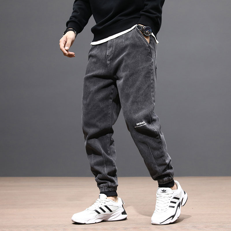 Fashion Streetwear Men Jeans Loose Fit Gray Slack Bottom Denim Cargo Pants Spliced Vintage Designer Japanese Hip Hop Jeans Men
