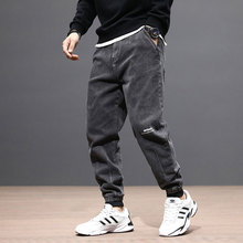Мода Уличной Мужские Джинсы Свободный Покрой Серый Отвисшей Нижней Деним Брюки-Карго Сплайсированные Винтажный Японский Дизайнер Хип-Хоп