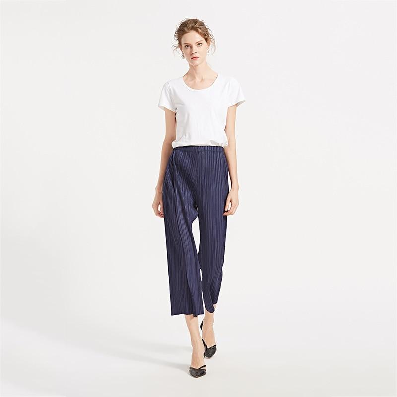 TVVOVVIN Color sólido cintura baja banda elástica plisada pantalones partidos Mujer Pantalones rectos moda 2019 otoño invierno nuevo D339 - 3
