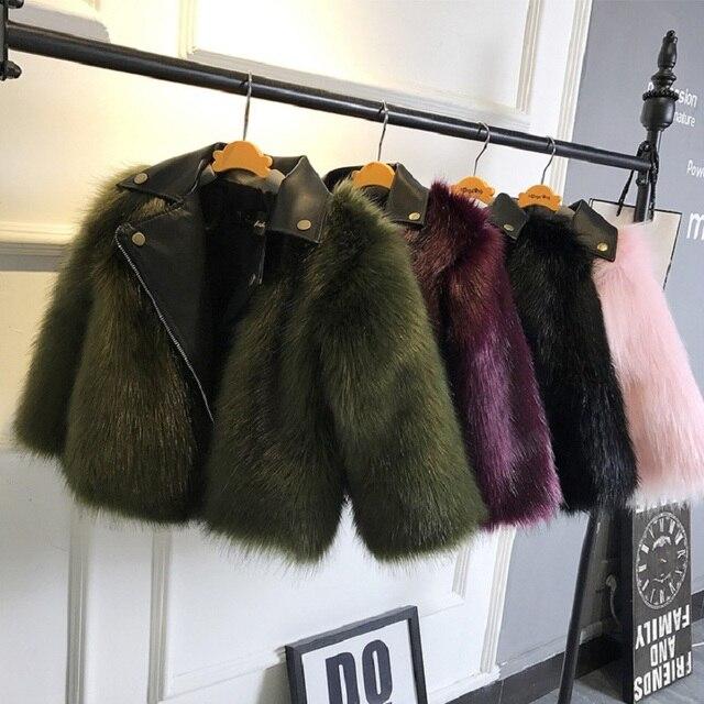 2020 fashion Baby Winter Outerwear & Coats Childrens Fur Girls fur Coat Kids Faux Fur Fabric Clothes Fur coat 2 10