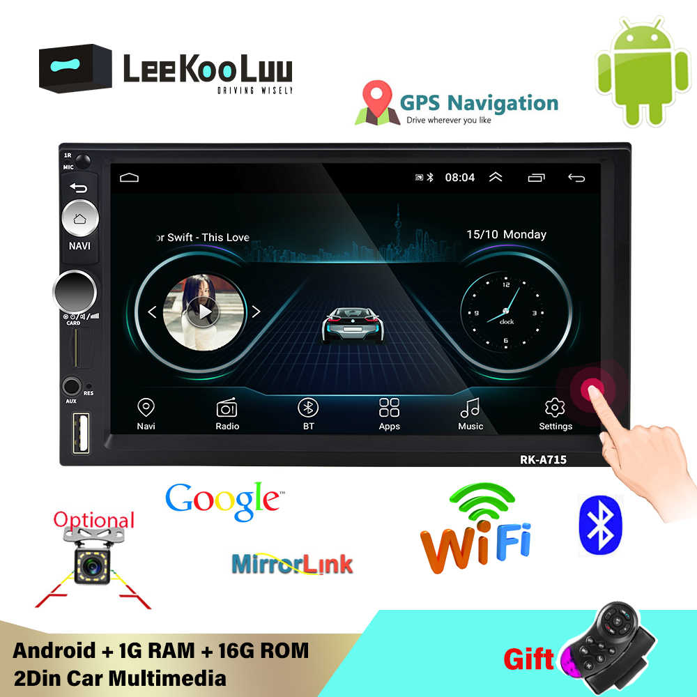 Leekoluu 2Din Android 8,1 Radio de coche Multimedia MP5 reproductor de vídeo GPS navegación WIFI Bluetooth Audio USB espejo enlace Autoradio