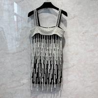Cakucool Runway Design heavy pearls beading tassels slip dress sexy party spaghetti strap mini summer dress jurken zomer 2020
