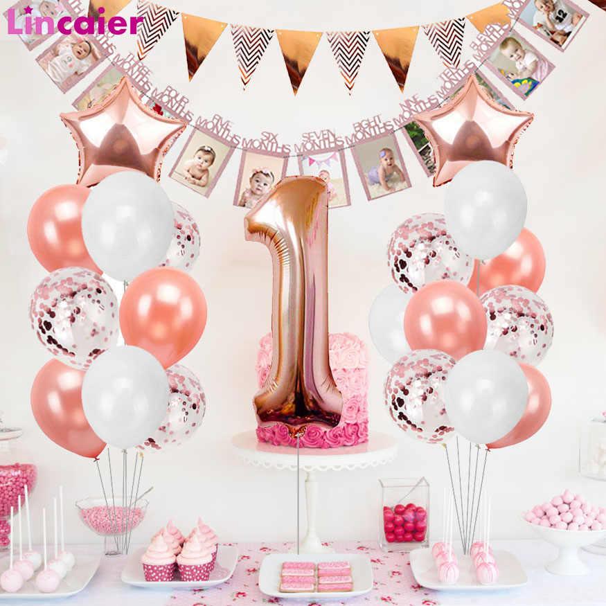 Goede Rose Gold Ballonnen Eerste Verjaardag Baby Boy Girl Party ZZ-37