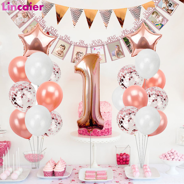 Rose Gold Balloons First Birthday Baby Boy Girl Party Decorations My 1 One Year 1st Happy Birthday Banner Supplies