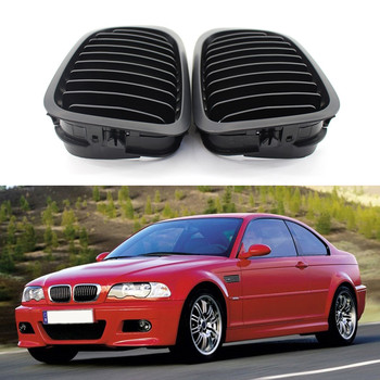 A Pair Matte/glossy Black Car Front Grille With Intake Grille For Bmw Coupe 2-Door E46 318i 320i 325i 330i Car Accessories image