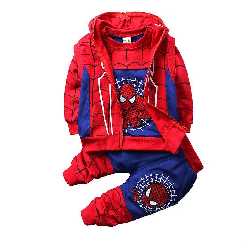 Spiderman Baby Boys Clothing Sets Cotton Sport Suit Children Cool Spider Man Cosplay Costume 3pcs Kids Tracksuit Clothes JT-379