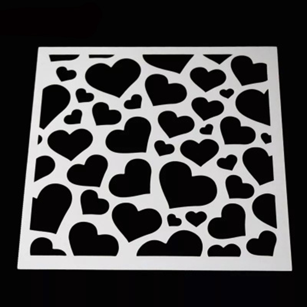 Plastic Cake Foam Spray Template Barista Stencils Decoration Tool Mold Fancy Cake Printing Heart Model