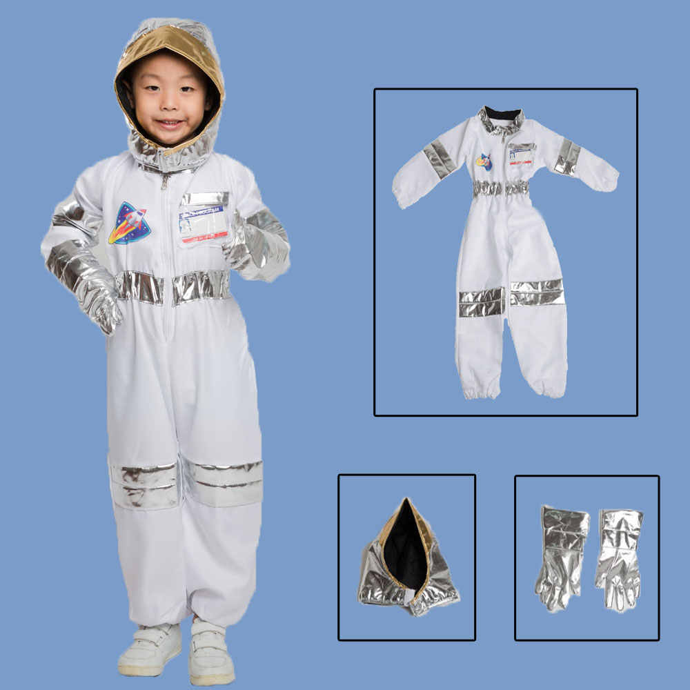 Umorden Kids Child Astronaut Costume Cosplay Space Suit Role Play House Kit Set for Boys Halloween Party Dress Up Educational