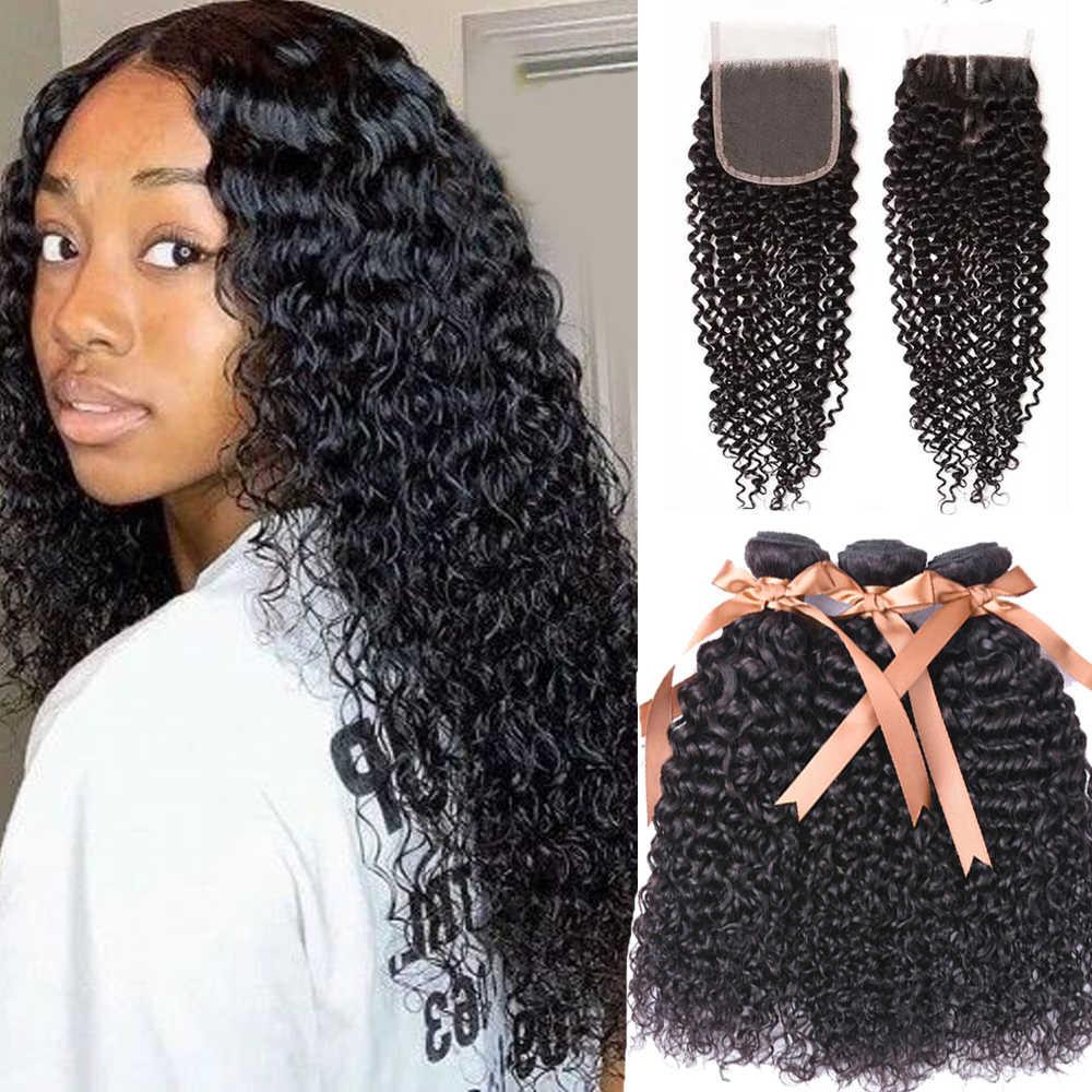 Feixes de cabelo humano com fecho de cabelo brasileiro tecer pacotes com fecho kinky curly pacotes com fechamento não remy cabelo